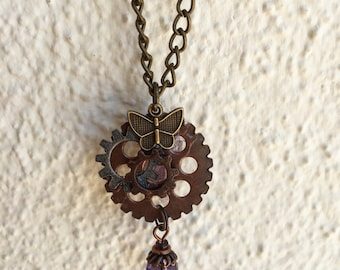 Steampunk butterfly amethyst necklace