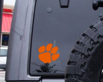 Tiger Paw decal, Clemson decal, football decal, FREE SHIPPING, Orange vinyl, laptop decal, decal sticker, dorm room decal, home decor #205