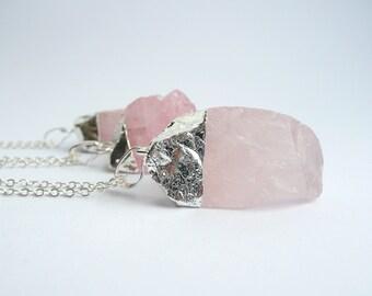 Rose Quartz Necklace, Boho Necklace, Rose Quartz Raw Crystal Necklace, Gemstone Necklace, Necklace for Women