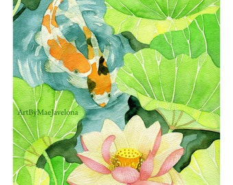 Tag, You're It, 8X10 Print of my Original Watercolor Painting of Koi and Lotus