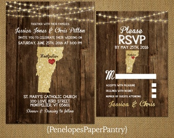 State of Vermont Destination Wedding Invitations,Rustic,Gold Glitter Print,Strands of Lights,Red Heart,Opt RSVP Card,Customizable,Envelopes