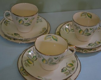 Vintage tea cup and saucer set with side plate.