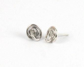 Handmade Solid Silver 925 Spiral Heart Stud Earrings