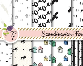 Scandinavian forest digital paper. Black and white seamless designs. Instant Download. Commercial use. Deer, crow, trees and house patterns.