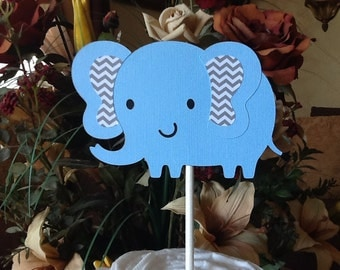 Blue elephant cake topper/Boy baby shower cake topper/Blue and grey chevron cake topper/Elephant baby shower/Elephant cake topper