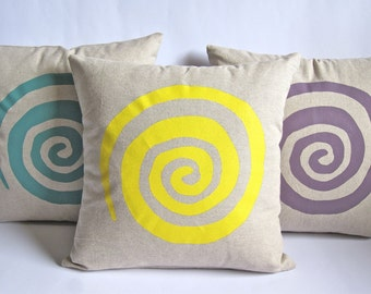 Spiral screen printed cushion cover