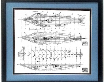 20000 Leagues Under the Sea Nautilus Submarine Framed Technical Print