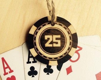 Poker chip gift tag 25 design- poker night party favor or gift tag