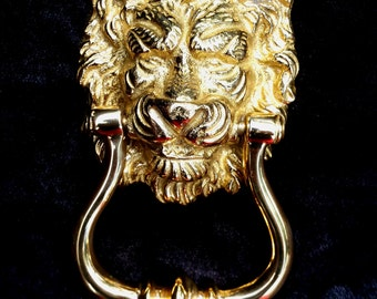 Brass Lion Door Knocker, Mid Century Gothic Lion, Vintage N.O.S. Lion Head Doorknocker by Valsan Portugal, Hollywood Regency Entryway Decor