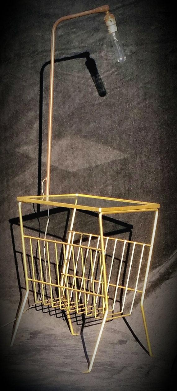 Mid Century Modern Metal Side Table Magazine Rack Floor Lamp