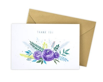 Thank You (Purple Bouquet) Greeting Card
