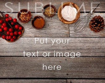 Food Stock Photography / Cooking / Baking / Christmas Styled / Spices / Digital Background / Wood Background / StockStyle-581