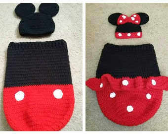 Crochet Mickey Mouse Cocoon,Minnie Mouse Cocoon