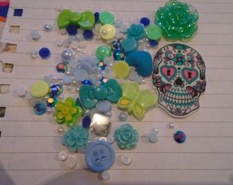 Sugar skull gothic Decoden / embellishment bundle
