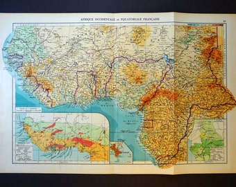 1950 Antique Map of West Africa - Western Africa Vintage Map -  Large Size