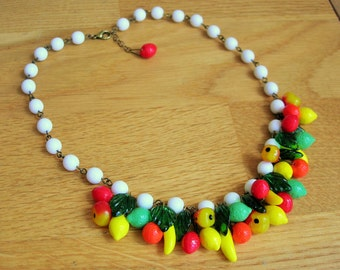 Fruit salad necklace, 30's 40's inspired, with czech glass fruit and glass leaves