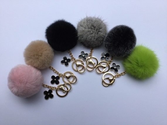 No Dye Grey Cute Genuine Rabbit fluffy ball furkey fur ball pom pom keychain for car key ring Bag Pendant