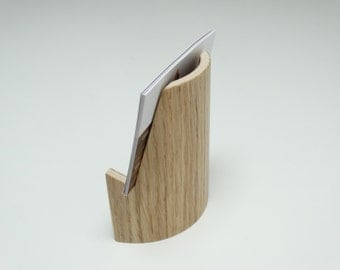 Wooden business card holder, oak finish, business card curved holder, business card holder in curved plywood