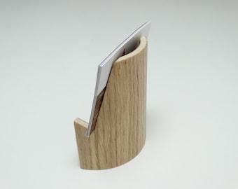 Wooden business card holder, oak finish, business card curved holder, business card holder in curved plywood
