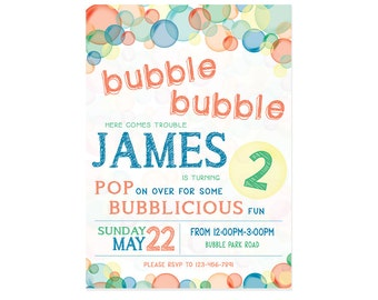 Bubble Theme Birthday Party Invitation - 5x7