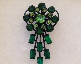 Vintage Jappaned Green Rhinestone Flower Brooch Shades of Greens