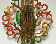 Hand painted lasercut clock in 'Autumn' design. Free UK delivery.