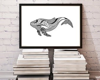 Whale, Zentangle, Animal, Black and White, Pen and Ink,Print of Original Drawing