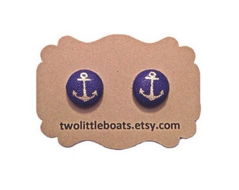 Anchor Fabric Button Earrings, nautical, handmade gift idea for her