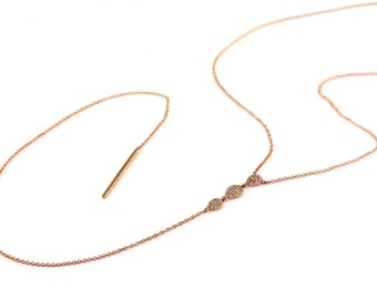 "0.28ct Pavé Diamonds in 14K Rose Gold Drop Bar-Pear Lariat Necklace 18"" - CUSTOM MADE"