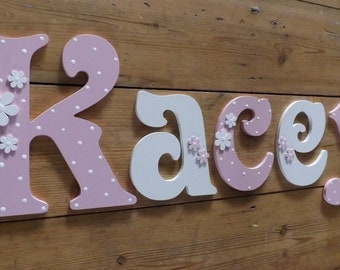Girls hand painted Victorian font wooden wall letters. Large size mixed case Daisy and Polka Dot Design