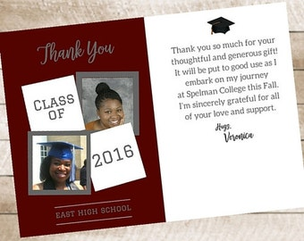 School Colors Graduation Thank You Card High School College Printable 5x7