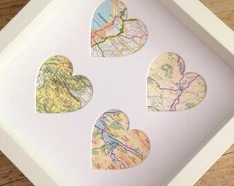 4 heart map frame