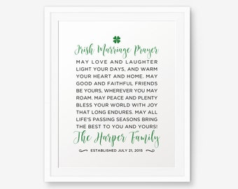 SALE Personalized Irish Marriage Blessing Printable Anniversary Gift Wedding