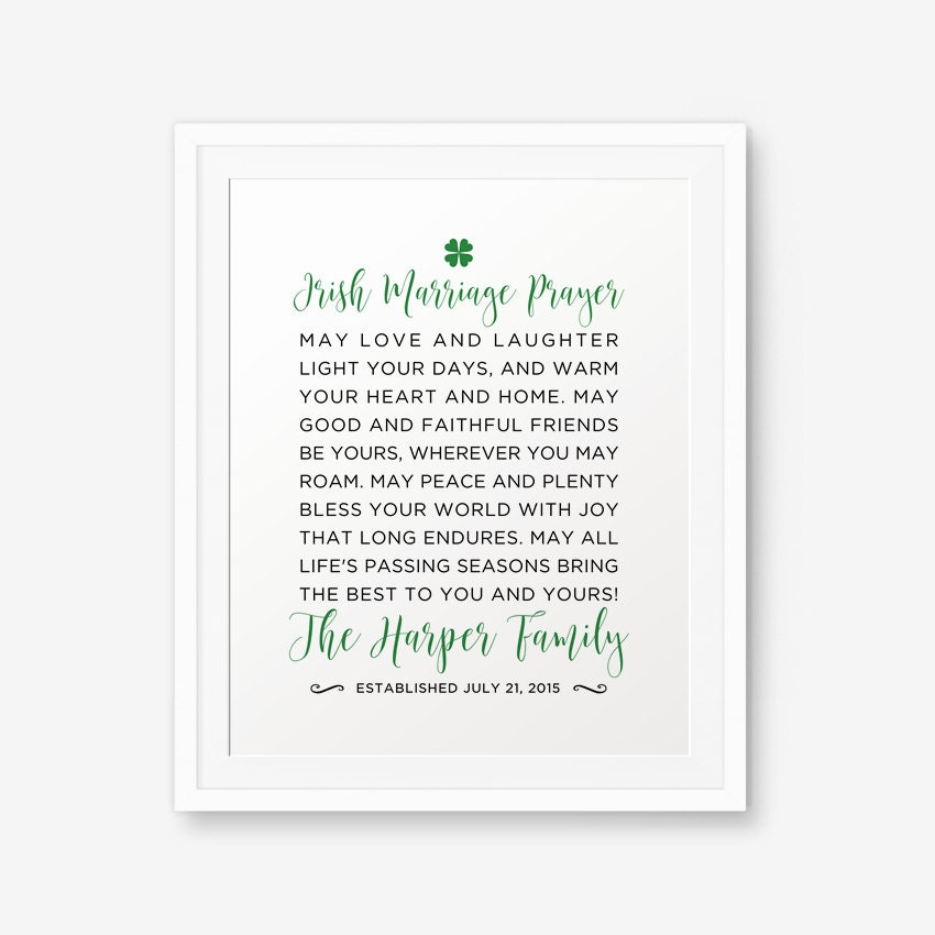 SALE Personalized Irish Marriage Blessing Printable