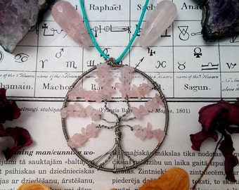 Wired tree of life pendant with pink rose quartz crystal