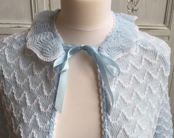 Vintage Brettles 1960s Bed Jacket - Knitted Pale Blue UK Size 10