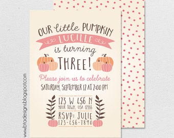Our Little Pumpkin Birthday Party Invitation 1, Customized, Digital