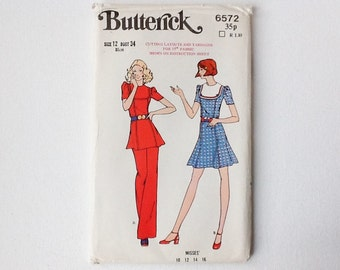 1970s Butterick Dress, Tunic and Pants Pattern, Butterick 6572, Misses Size 12, UNCUT, 00801