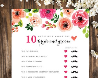 10 Questions | Bridal Shower Games | Bridal Shower Games Printable | How well do you know the Bride and Groom | INSTANT DOWNLOAD