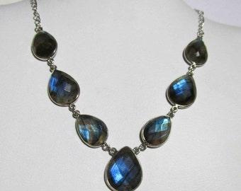 "20% off Labradorite Statement Necklace, Labradorite Silver Necklace, Labradorite Faceted Necklace, Labradorite Chain Necklace Oxidized 20"" N"