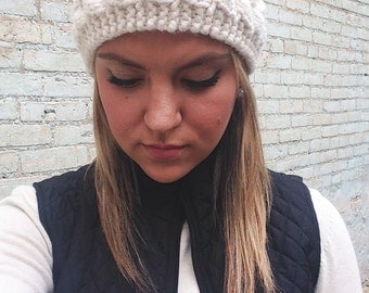 Hand knitted cable knit headband