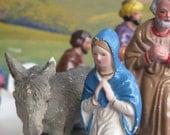 Vintage Figures:  Mary Madonna & Donkey / Journey to Bethlehem Bible Story