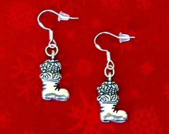 50% SALE Christmas Earrings..Santas Boot Earrings..Christmas Stocking Earrings..Cheap Christmas Gifts 925 Sterling Silver Hook FREE SHIPPING