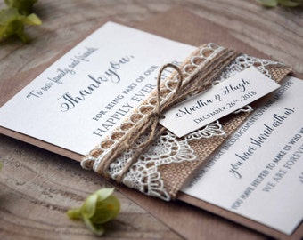 Rustic Lace Wedding Thank You Cards, Rustic Wedding Thank You Notes, Simple Thank You Note Cards, Rustic Lace Bridal Shower Thank You Cards