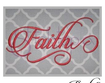 """Faith 2 Monogram Set – 1"""", 2"""", 3″ - Digital Machine Embroidery Font Alphabet Letters - Fancy Calligraphy Script - Instant Download"""