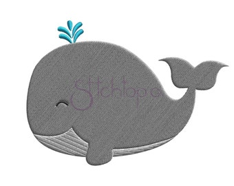 Whale Embroidery Design - 6 sizes 10 Formats PES DST Digital Machine Embroidery Design Filled Whale Embroidery Design Instant Download Files