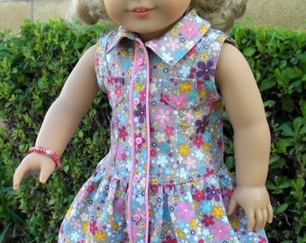 American Girl doll clothes - Gray with multi-colored flowers cotton low waist dress