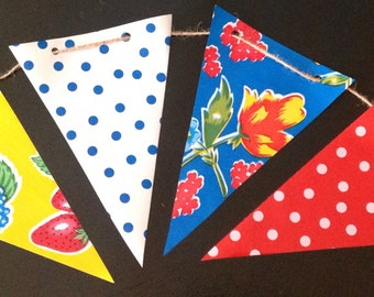 Garden Party 15' Oilcloth Pennant Banner Bunting Flag Garland (red/yellow/blue florals, dk blue polka, white polka on red background)