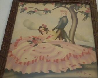 Vintage Turner Southern Belle Air Brush Watercolor Painting  - Fancy Frame