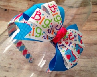 Big Sister Headband Set, Big Sister Bow, Big Sister Hair Bow and Woven Headband